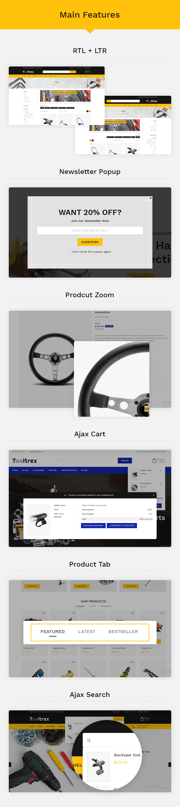 Tooltrex Features